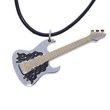 Anhänger Gitarre Edelstahl Schmuck Halskette Kette Musik Instrument silber gold