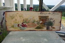 Shabby Blechschild Bild Maison Des Fleurs Blumen 13 x 36 cm Retro Antik Stil NEU