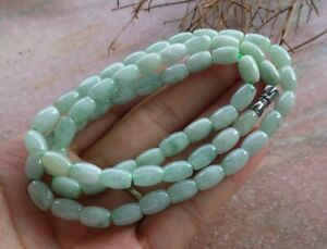 Certified Green Natural A JADE Jadeite Beads Circle Necklace 21 inches 项链 665441