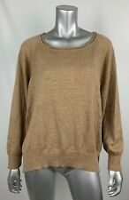 525 America Womens Sweater S Merino Wool Thin Knit Taupe Brown Loose Fit Boxy