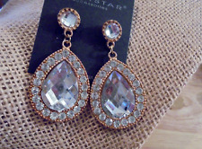 "Pierced Earrings 2"" Gold Tone Large Clear Oval Crystal Dangle"