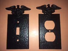Antique Metal Eagle Topped Hammered Wall Switch & Plug Plates Set Rare Decor
