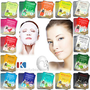 30PCS Korean Essence Facial Mask Sheets Moisture Face Mask Pack Skin Care Lots