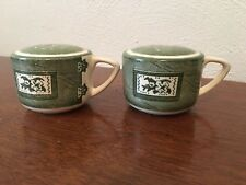 Vintage Green Cupboard Teacup Salt and Pepper Shakers