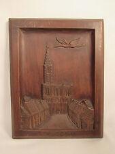 Vintage Hand Carved Wooden Strasbourg Cathedral France Wall Plaque