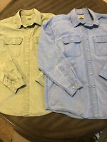VTG Lot 2 LL Bean Mens L Large Reg Button Distressed Solid Blue Green Shirts EUC