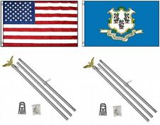 3x5 Usa American & State of Connecticut Flag & 2 Aluminum Pole Kit Sets 3'x5'