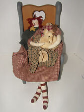 COUNTRY  STYLE WOODEN CHILDS/ DOLL CHAIR  AND RAGETTI  DOLL HOLDING SMOWMAN