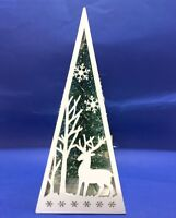 Christmas XMAS Pyramid Light Up Tree Reindeer w Snowflake White Home Table Decor