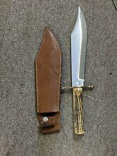 Vintage Stag Handle Kabar #1210 J. Bowie Survival Hunting Knife Blade W/Sheath