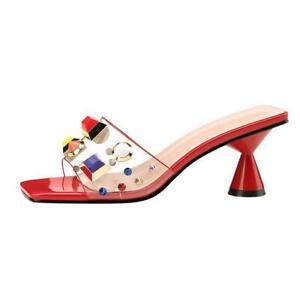 Girl Summer Transparent Slippers Sandal Multi-color Rivets Open Toe Casual Pumps