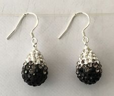 SHAMBALLA GRADIENT WHITE T0 JET BLACK  CRYSTALS TEARDROP EARRINGS -15mm x 12mm