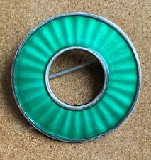 Einar Modahl Brooch Pin Silver 9.25S EM Modernist Green Enamel Norwegian Vintage