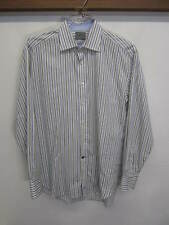 EUC! Thomas Dean Dress Shirt striped white cotton spread collar sz 15.5 34/35