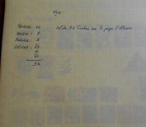 ASIE:lot de 92 timbres sur 5 pages d'album:voir photos et détails