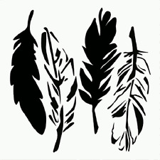 """10"""" FEATHER STENCL 4 FEATHERS TEMPLATE PAINT CRAFT PATTERN STENCILS NEW"""