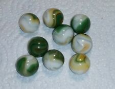"""9 Jabo Classic Marbles - Used Played with Toys - 5/8"""" Wide - Multicolored Swirl"""