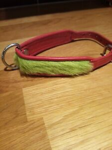 """Holly & Lil Collar Dog Red Leather and Lime Green Fur Size XS 10.5"""" - 12. 5"""""""