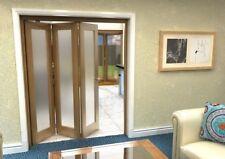 Oak 1L Internal Bifolding Doors Std Room Divider 1671mm x 2070mm - Frosted Glass