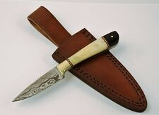 Damascus Full Tang Knife with Buffalo Horn and Bone Handle & Leather Sheath