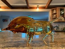 Exceptional Murano Glass Statue Bull Large Size at 15 Inches Likely Salviati