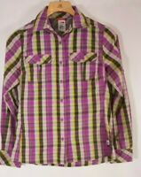 The North Face Womens Small Plaid Button Down Shirt Purple hiking Vaopr wick