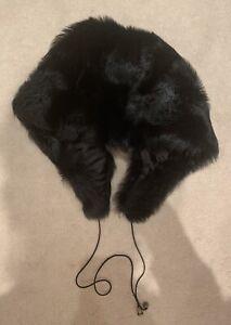 All Saints Black Faux Fur Hood Style Hat