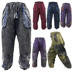 Stonewash Hippie Pants Mens Womens Harem Pant Men Baggy Gypsy Trousers one size