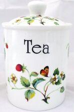 Strawberries & Butterflies Tea Canister Bone China Lidded Storage Jar Decor UK