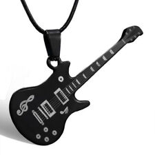Black Guitar Stainless Steel Fashion Lord Prayer Pendant Leather Charm Necklace