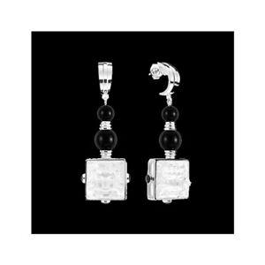 GENUINE LALIQUE Arethuse Masque De Femme Earrings Clear Silver Black (10445100)