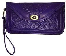 Leather Handbag Pouch Purse Moroccan Women  Makeup Clutch Wristlet Wallet Purple