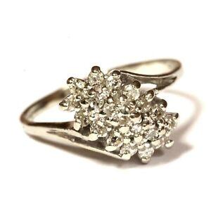 14k white gold .38ct SI1-VS2 H round diamond cluster womens ring 5.4g estate 11