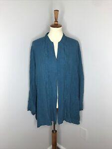 Plus Citron Santa Monica Teal Textured Silk Mandarain Collar Blouse 3X