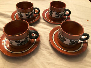 Set of 4 Cups & Saucers from Lima, Peru with Cats Mid Century -- EXC