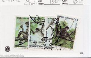 1990 Republica de Honduras C.A. Sc #C789-92 Θ used Monkey stamps WWF Panda
