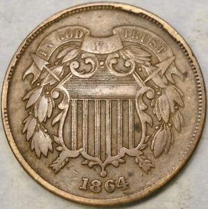 1864 TWO CENT PIECE WEAK FULL MOTTO MASSIVE REVERSE DIE BREAKS SHATTERED DIE???