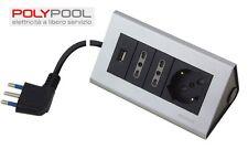 """PRESA MULTIPLA MULTIPRESA TRIPLA + USB DA SCRIVANIA CON CAVO 2 MT.  """" POLYPOOL"""""""