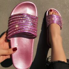 Womens Glitter Rhinestones Flats Slippers Summer Beach Slip On Slides Shoes HOT