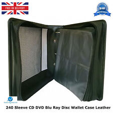 1 x  240 Sleeve CD DVD Blu Ray Disc Wallet Holder Bag Storage Carry Case Leather