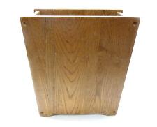 Vtg Mid Century Modern Solid Oak Wood Trash Can Bin Wastepaper Basket Rectangle
