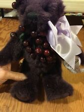 Purple Annette Funicello bear, cranberries it looks like, 11.5 inches