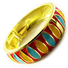 Bracelet CLOISONNE enamal Retro Vintage Style GOLD BLACK RED colorful charm WIDE