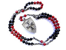 Silver  Cross Shield Rosary  With Black Diamonds by Sacred Angels