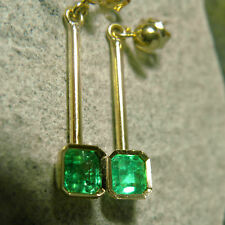 OVER 1.25ct Square Colombian Emerald Dangle Earrings 18K Gold