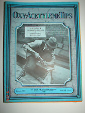 OXY-ACETYLENE TIPS - January 1933 - Linde Air Products Co. - Nice Cover