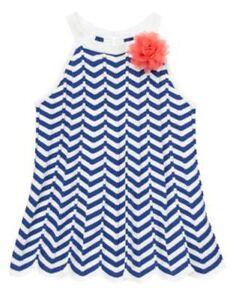 NEW Gymboree Chevrons & and Dots Girls 5 6 Blue Chevron Flower Sweater Tank