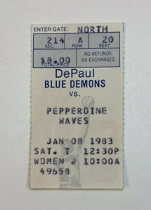 1983 DePaul Blue Demons v Pepperdine Basketball Ticket Stub NCAA 1/8/83 82-83