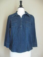 OLD NAVY denim shirt pullover shirt blue 3/4 sleeve size M-L ALMOST VINTAGE