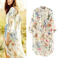 Women's Loose Blouse Floral Boho Chiffon Coat Shawl Kimono Cardigan Long Tops